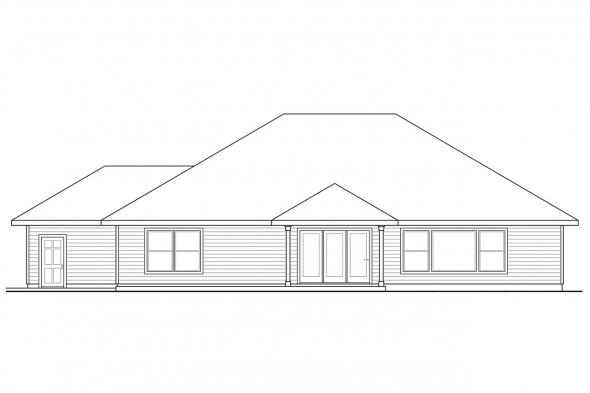Green House Plan - Green Valley 70-005 - Rear Elevation