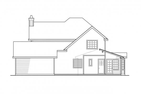 House Plan with Detached Garage - Atkinson 30-060 - Rear Elevation