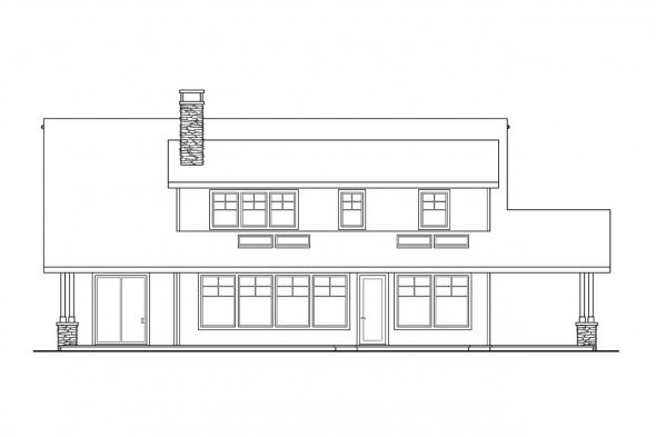 House Plan with Detached Garage - Mariposa 10-351 - Rear Elevation