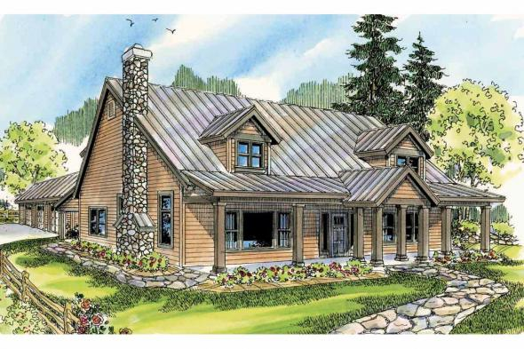 Lodge Style House Plan - Elkton 30-704 - Front Elevation