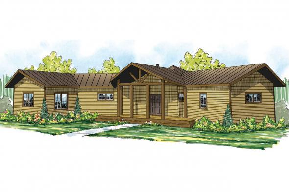 Lodge Style House Plan - Greenview 70-004 - Front Elevation