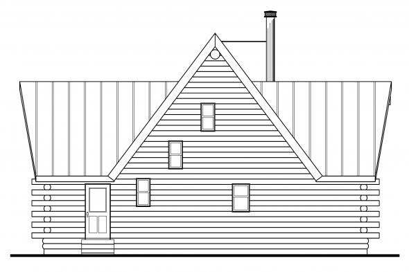 Log Home Floor Plan - Chinook 30-011 - Rear Elevation
