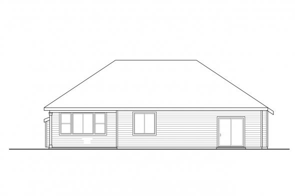 One Story House Plan - Stowe 31-138 - Rear Elevation