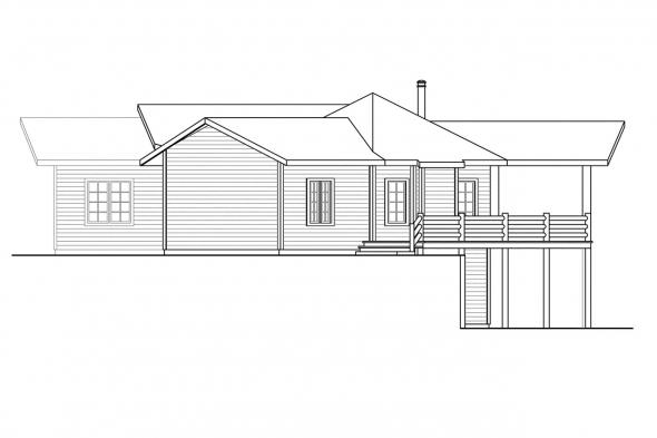 Ranch House Plan - Blue Creek 10-564 - Right Elevation