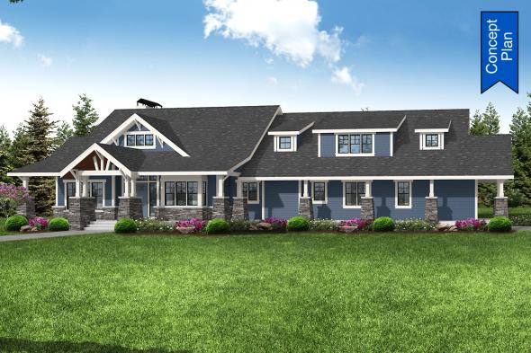Ranch House Plan - Elk Cove 31-224 - Front Elevation