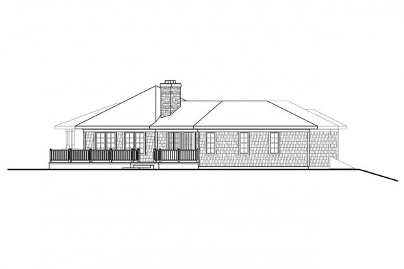 Ranch House Plan Illahe 10-575 Left Elevation