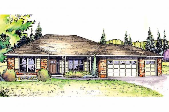 Ranch House Plan - Wallowa 30-737 - Front Elevation