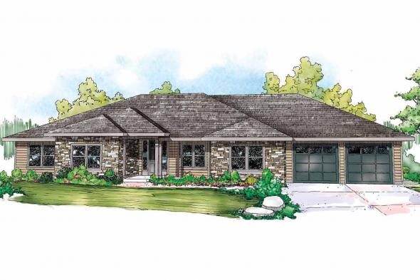 Ranch House Plan - West Creek 30-781 - Front Elevation