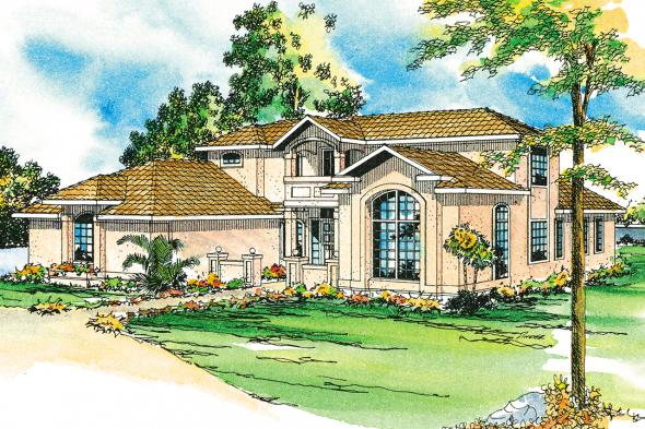 Southwest House Plan - Roswell 11-086 - Front Elevation