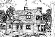 Cottage House Plan - Jersey 30-070 - Front Elevation