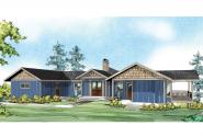 Prairie Style House Plan - Edgewater 10-578 - Front Elevation