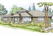 Prairie Style House Plan - Metolius 30-746 - Front Elevation