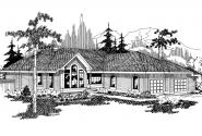 Ranch House Plan - Raleigh 10-002 - Front Elevation