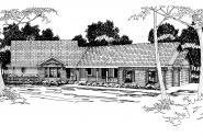 Ranch House Plan - Ridgecrest 10-257 - Front Elevation