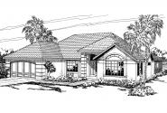 Southwest House Plan - Brisbane 11-016 - Front Elevation