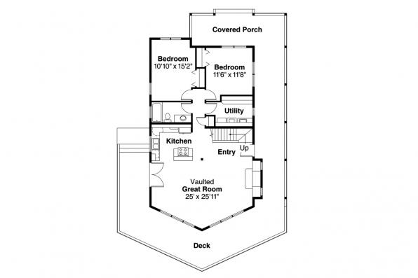 A-Frame House Plan - Gerard 30-288 - 1st Floor Plan