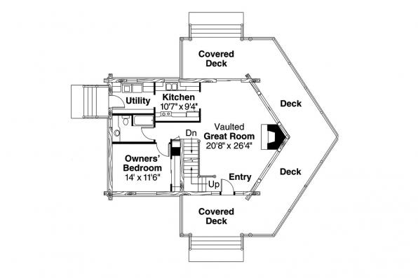 A-Frame House Plan - Stillwater 30-399 - 1st Floor Plan