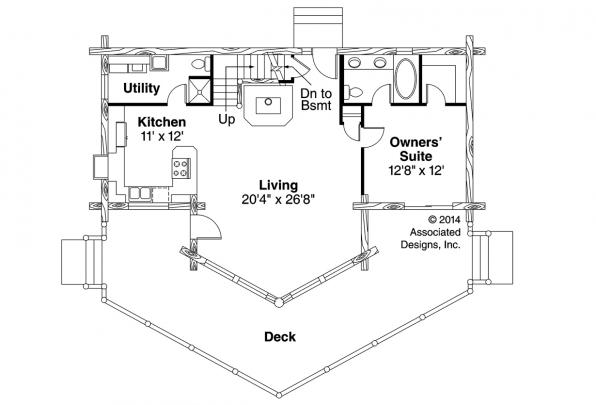 A Frame House Plan - Altamont 30-012 - First Floor Plan