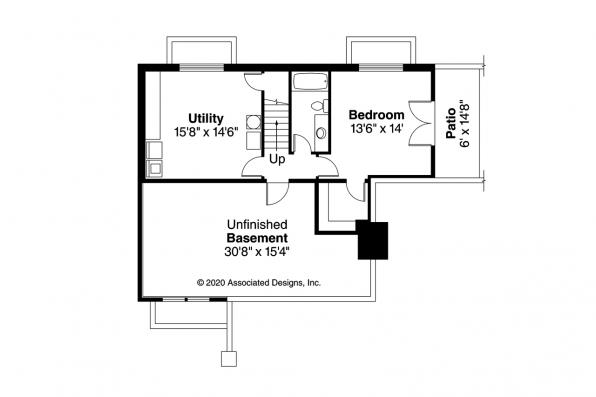 Bungalow House Plan - Lone Rock 41-020 - Daylight Basement Plan