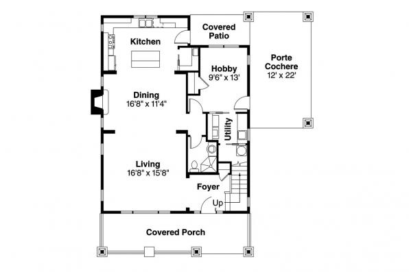 Bungalow House Plan - Blue River 30-789 - 1st Floor Plan