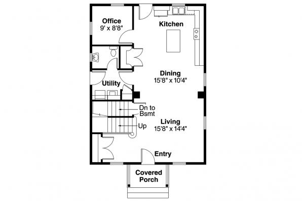 Cape Cod House Plan - Castor 30-450 - 1st Floor Plan