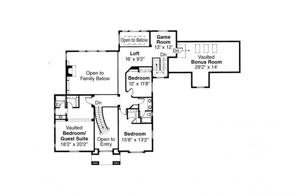 Colonial House Plan - Franklin 50-001 - 2nd Floor Plan