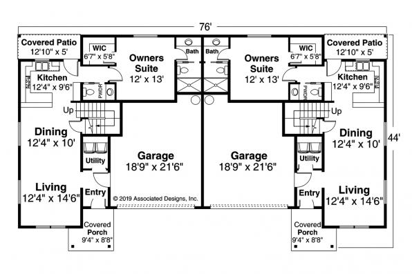 Two Story Duplex Design Culberson 60-053 - First Floor