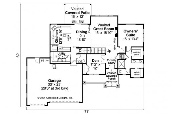 Country House Plan - Kinsale 31-142 - Alternate Basement Stair Layout