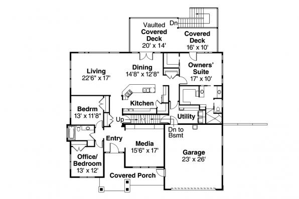 Craftsman House Plan - Berkshire 30-995 - Main Floor Plan