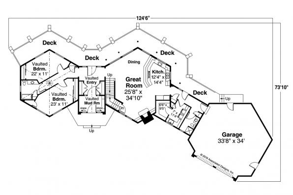 Sloped Lot House Plan - Ashcroft 31-187 - First Floor