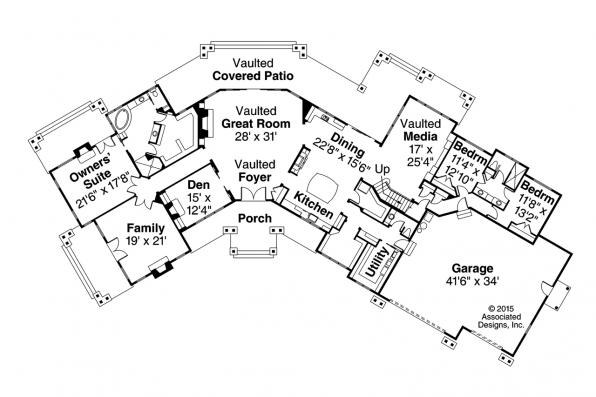 Lodge Style House Plan - Petaluma 31-011 - Floor Plan