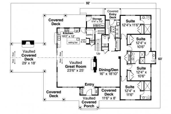 Lodge Style House Plan - Wind River 31-241 - First Floor Plan