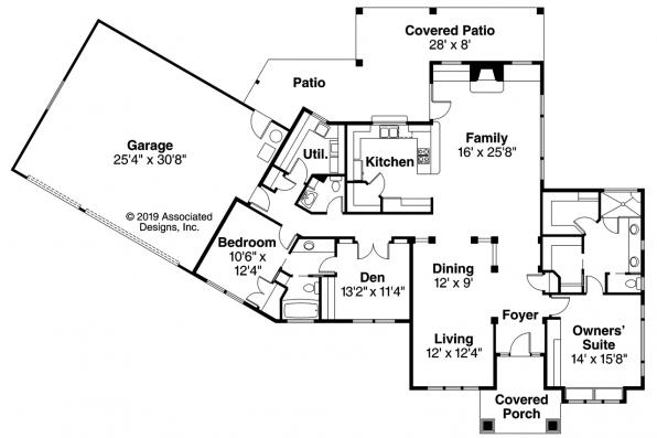 Mediterranean House Plan - Chatsworth 30-227 - Floor Plan