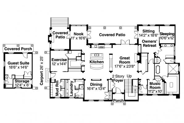 Mediterranean House Plan - Rossano 30-569 - First Floor Plan