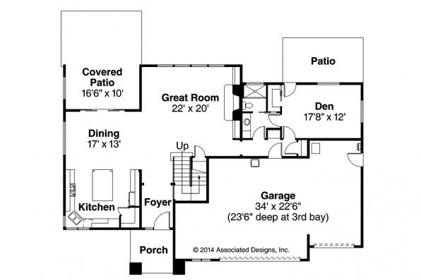 Prairie Style House Plan - Brookhill 30-963 - First Floor Plan
