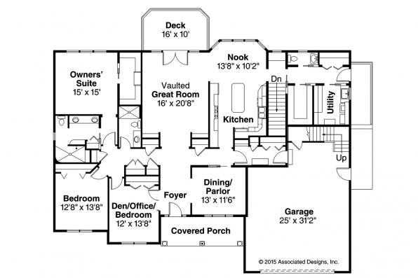 Ranch House Plan - Hampshire 30-799 - First Floor Plan