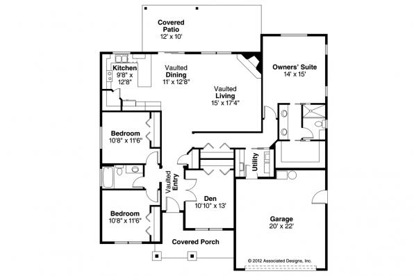 Ranch House Plan - Whittaker 30-845 - Floor Plan