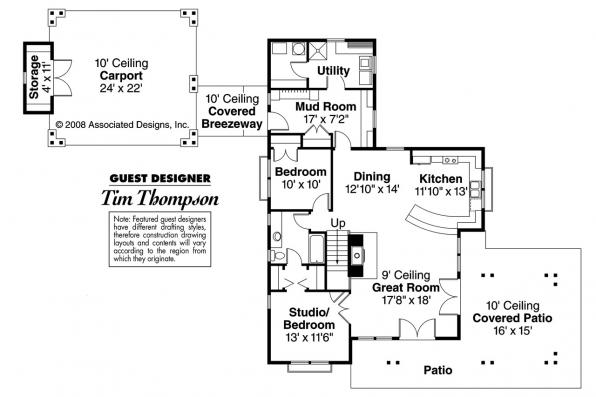 Shingle Style House Plan - Longview 50-014 - 1st Floor Plan