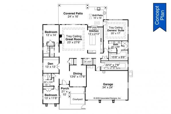 One Story House Plan - Elmwood 31-166 - Floor Plan