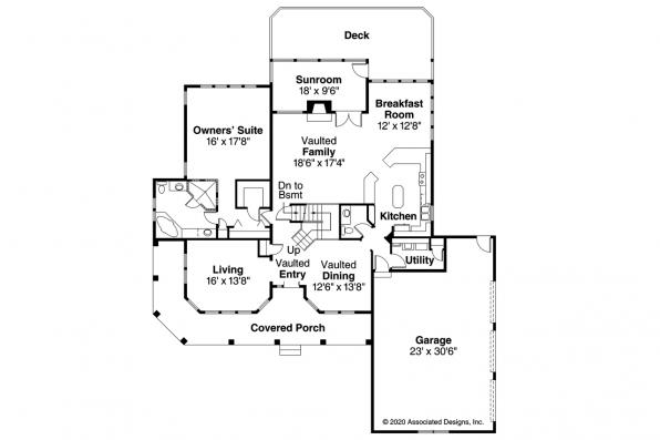 Southwest House Plan - Artesia 10-168 - First Floor Plan