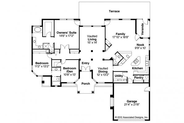 Spanish Style House Plan - Richmond 11-048 - Floor Plan