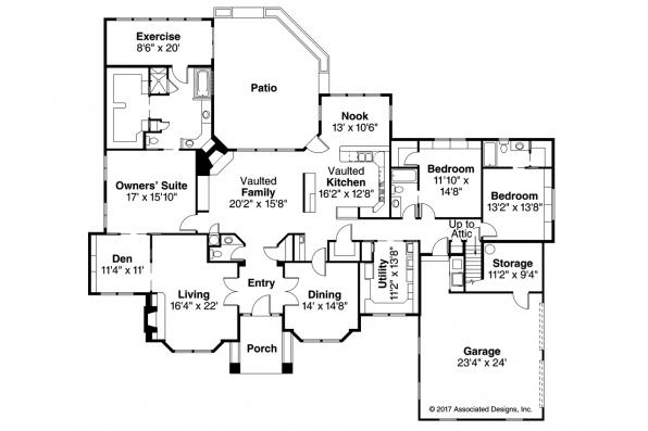 Classic House Plan - Brentwood 30-007 - Floor Plan