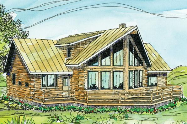 A Frame House Plan - Aspen 30-025 - Front Elevation