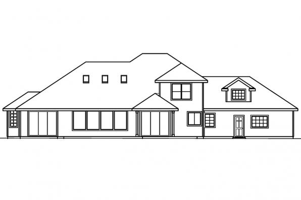 Classic House Plan - Colfax 30-224 - Rear Elevation
