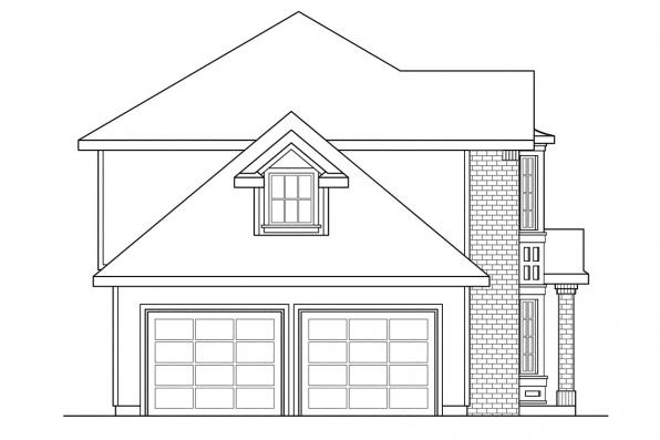 Colonial House Plan - Ashwood 30-092 - Left Elevation