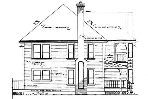 Colonial House Plan - Astoria 41-009 - Left Elevation