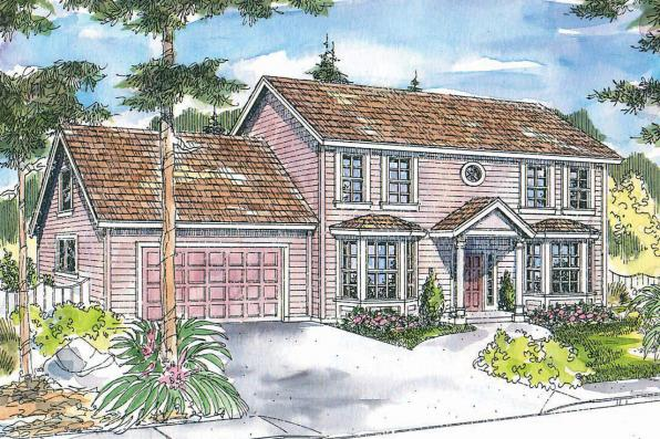 Colonial House Plan - Ellsworth 30-222 - Front Elevation
