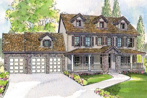 Colonial House Plan - Hanson 30-394 - Front Elevation