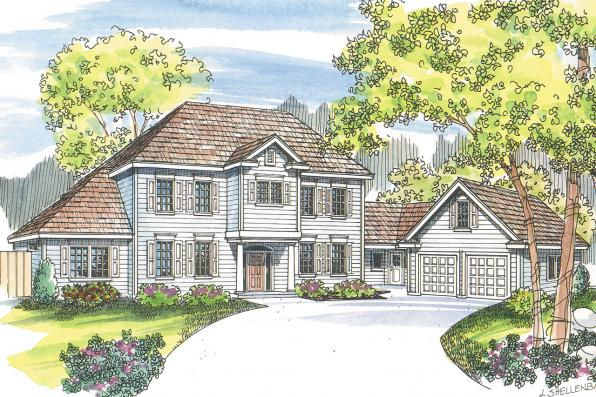 Colonial House Plan - Lansford 30-314 - Front Elevation