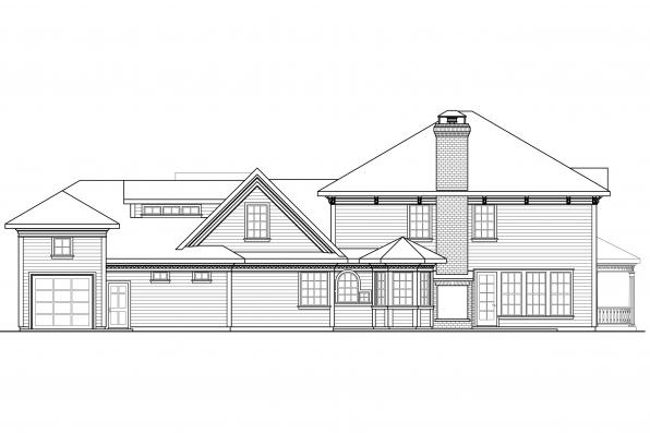 Colonial House Plan - Randell 30-395 - Rear Elevation